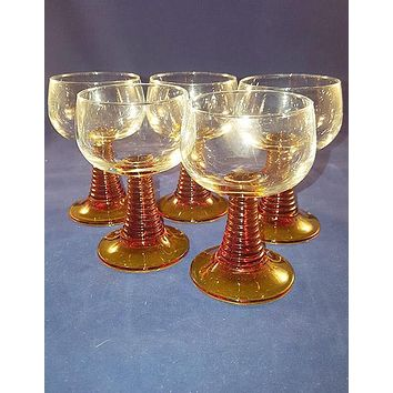 Amber Twisted Stem Cordial Glasses