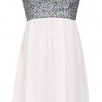 The Strapless White Sequin Dress