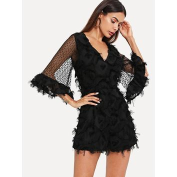 Black Bell Sleeve Lace Applique Plunging Romper