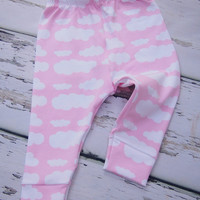 Pink Cloud baby leggings, sky leggings, girls leggings, girls pants, toddler leggings, baby clothing, trousers, bottoms, girls' clothing,