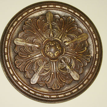 "Antiqued Wall or Ceiling Medallion, 18"" Ceiling Medallion, Ornate Medallion, ceiling medallion"