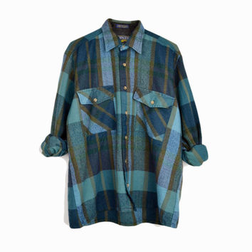 Vintage 80s Blue & Green Plaid Flannel Shirt / 1980s Lumberjack Shirt - men's medium
