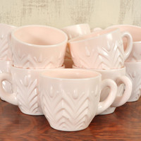 Vintage Pink Milk Glass Cups, Jeannette Shell Pink, Feather Pattern, Punch Glasses, Tea Cups