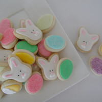 Easter Eggs and Bunnies Iced Sugar Cookies - Oh So Small - Mini (3 Dozen)