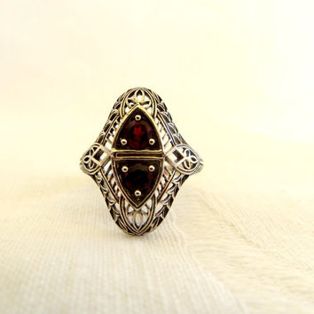 Art Deco Garnet Red Ring, Sterling Silver Filigree, Size 7, Art Deco Jewelry, 1920s Style Ring