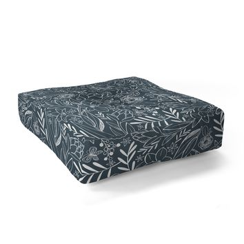Heather Dutton Botanical Sketchbook Midnight Floor Pillow Square