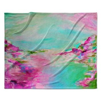 "Ebi Emporium ""Something About the Sea 2"" Teal Pink Fleece Throw Blanket"