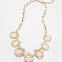 Keira White Teardrop Statement Necklace