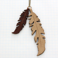 """Long Leather Feather Necklace 30"""""""