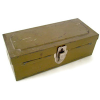 Vintage Tin Metal Storage Box, Industrial Decor, Olive Drab Green, Chippy, Small, Pencil Box