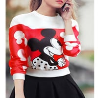 Red Mickey Sweatshirt and Black Pleated Mini Skirt