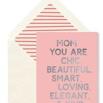 Mom You Are Chic Greeting Card, Single Blank Card