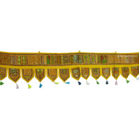 Yellow Vintage Tribal Patchwork Window Decor Valance