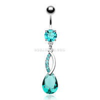 Journey Loop Sparkle Teardrop Belly Button Ring (Teal)