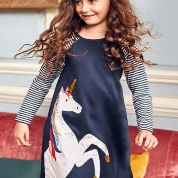 Toddler Casual Floral Unicorn Dress