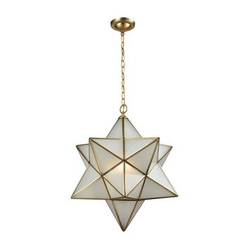 22017/3 Decostar 3 Light Chandelier In Brushed Brass With Frosted Glass