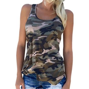 VLX0E4 New Camouflage Women T Shirt O-neck Tank Tops Female Tank Vest Casual T-shirts Girls Printed Tee Shirt Women Top Plus Size GV594