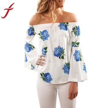 Long Sleeve Flare Sleeve Blouse 2017 Sexy Women Off Shoulder Floral Print Blusa Large Casual Slash Neck Summer Beach Tops Shirt