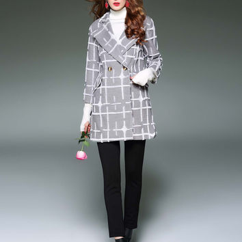 D. FANNI Turn-down Collar Plaid Coat