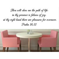 Psalm 16:11 Bible Verse Wall Decal, Bible Wall Art, Scripture Wall Decal