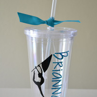 Color Guard Dancer with Flag and Name - Personalized 16oz BPA free Tumbler with matching straw
