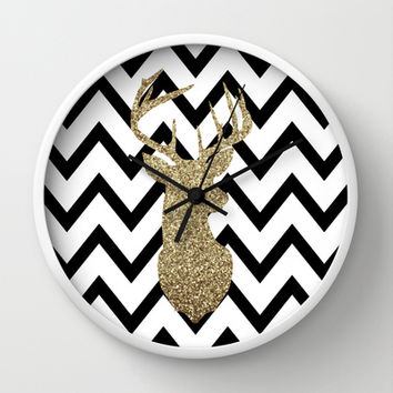 Glitter Deer Silhouette with Chevron Wall Clock by dani