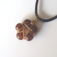 Handmade Brown Crackle Glass Gold Plated Wire wrapped Pentacle Pendant. Star Flower, Wiccan Jewellery, Pentagram, Star Pendant
