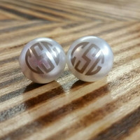 Monogrammed Pearl Earrings