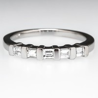 Emerald Cut Diamond Wedding Band Ring Platinum