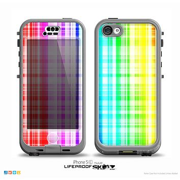 The Bright Rainbow Plaid Pattern Skin for the iPhone 5c nüüd LifeProof Case