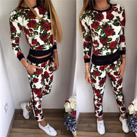 (2 Pcs) Women's Trending Popular Fashion 2016 Floral Printed Everyday Wear Sport Sweatshirt Sweatpants Set _ 8699