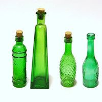 Lot of 4 Vintage Green Glass Bottles