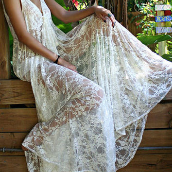 White Lace V-neck Sleeveless Maxi A-line Dress