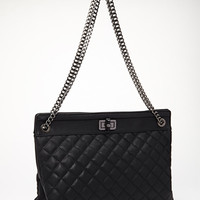 FOREVER 21 Quilted & Chained Tote Black One