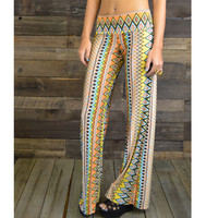 Tatum Waves Tribal Mustard Palazzo Pants