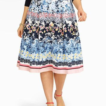 Talbots - Botanical Print Sateen Skirt