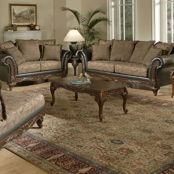 Silas Raisin wood trim sofa and loveseat by Serta Upholstery
