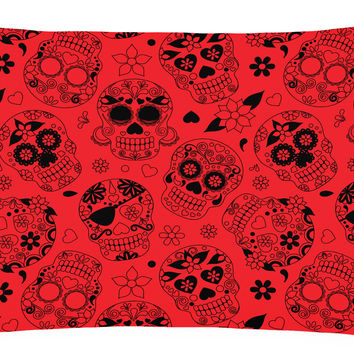 Day of the Dead Orange Canvas Fabric Decorative Pillow BB5119PW1216