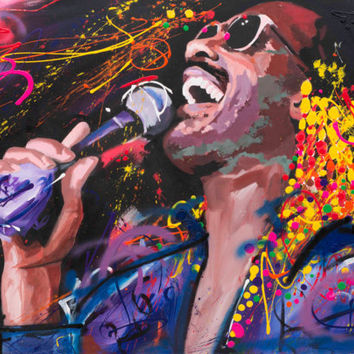 "Stevie Wonder Original Painting, 61"", Worldwide Shipping, Art, Music, Graffiti, Richard Day"