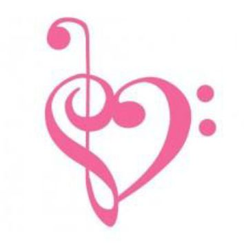 Bass and Treble clef heart Car Window Vinyl Decal Tablet PC Sticker