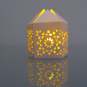 Set of 50 Shimmer White Handmade Moroccan Paper Wedding Lanterns with LED Battery Tea Light Candle  Event Decor - Party Favor - Lighting