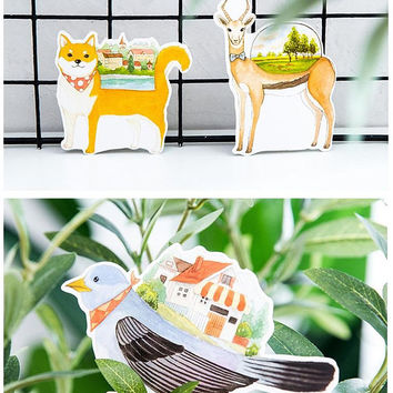 30 animal dream house embellishment paper cards fancy castle village home building animal drawing die cut paper  illustrations card prints