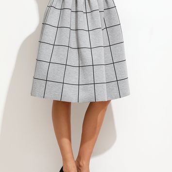Grid Box Pleated Skirt