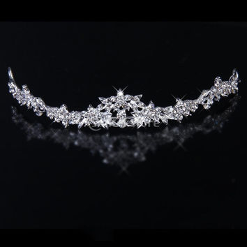 Trendy Bridal Rhinestone Crystal Flower Crown Headband Veil Tiara Wedding Prom New (Color: Silver) = 1932766212
