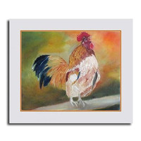 rooster canvas, original oilpainting, beige white, free shipping,christmas sign, christmas gift, 12x10in, 24x30cm, home decor, wall art