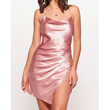 breaking hearts satin cowl neck front wrap mini dress in blush