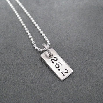26.2 Rectangle Sterling Silver Running Necklace - 16, 18 or 20 inch Sterling Silver Ball Chain - Unisex Marathon Necklace - Marathon