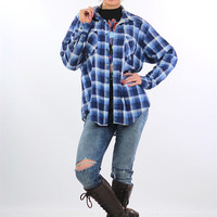 Vintage Blue plaid shirt 90s Grunge flannel Button down Oversized