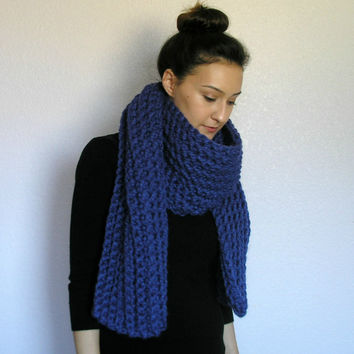 The Bourges, Chunky Long Scarf - COBALT