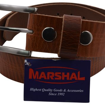 Durable Men's Casual Genuine Top Grain Leather Tan Belt with Silver Buckle
